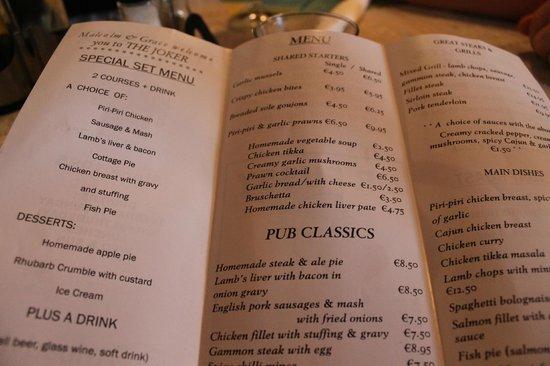 The Joker: menu