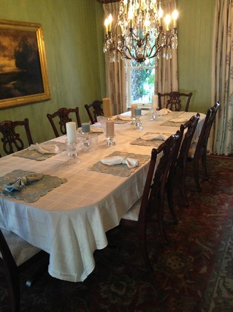 The Hibiscus House Bed & Breakfast : breakfast table