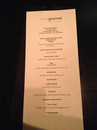 Funky Gourmet : Menu of Tasting Course