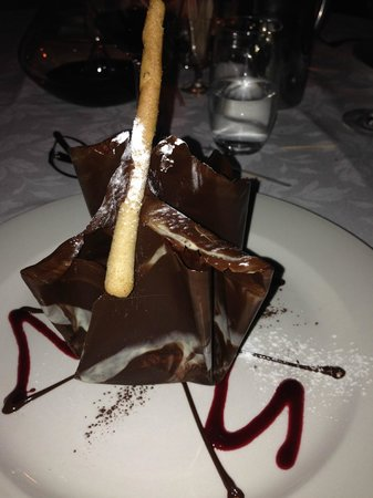Mission Restaurant: decadent chocolate basket with raspberry icecream