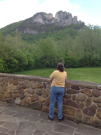 Seneca Rocks State Park: My friend looking up with wall made from local river rock