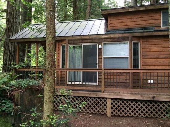 The Redwoods RV Resort: Side view of living room/porch area - So rustic and cozy!