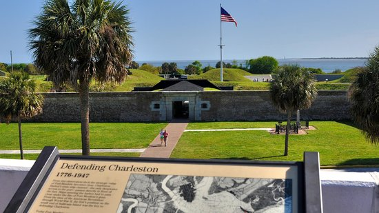 Fort Sumter National Monument: Fort Moultrie as seen from observation deck at Visitor Center