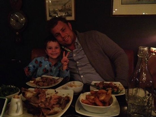 Duke Carvell's: chilling out with my son who also loved his meal - it was a long trip but a great night there