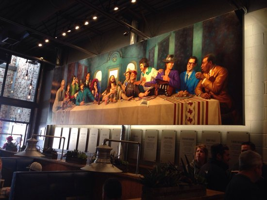 LSA Burger Co: Inside mural of famous Texas musicians and Jesus.