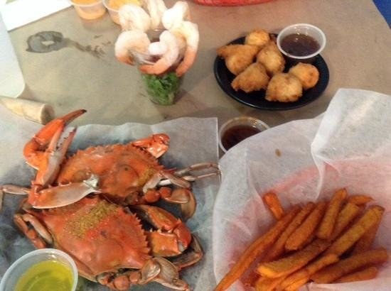 I Got Your Crabs Shellfish Market and Oyster Bar: crabs, hush puppies, sweet potato fries