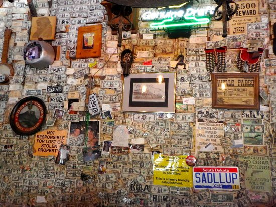 Tortilla Flat Superstition Saloon: Dollar bills pasted on the walls