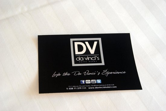 Da Vinci's Hotel Derry : Biglietto hotel