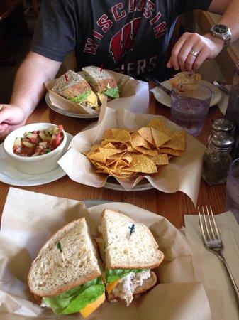 Leoda's Kitchen and Pie Shop: Tuna sandwich, egg sandwich, and chips with island salsa!