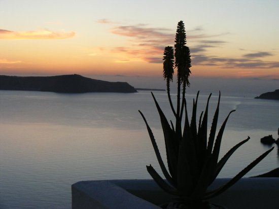 Aressana Spa Hotel and Suites: The famous Santorini sunset taken only yards from the hotel entrance