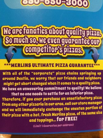 Merlin's Pizza: As Unique a Guarantee as I've Ever Seen