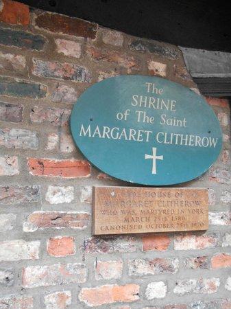 Margaret Clitherow Shrine: Sign outside the Shrine