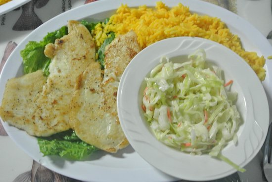 KING Seafood Market & Restaurant: Grilled Hogfish with yellow rice and coleslaw