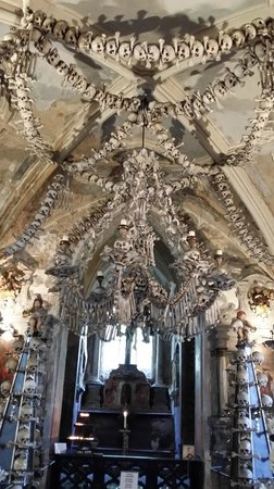 Cathedral of St. Barbara: bone chandelier