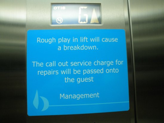 """Azure Sea Whitsunday : We thought this amusing. Obviously there are """"Goings on in the lift.."""