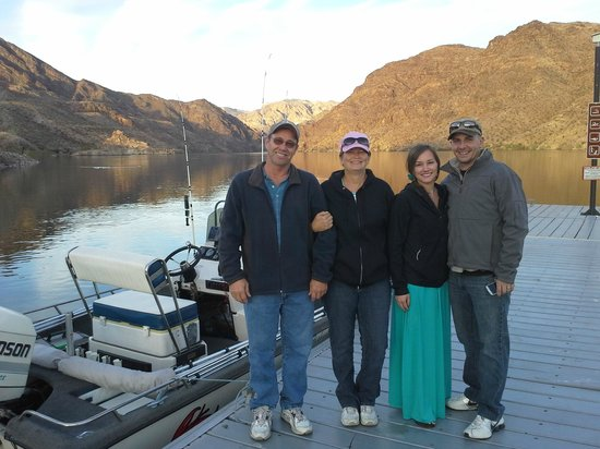 Mario and his family enjoying a fishing tour on lake mead for Fishing las vegas