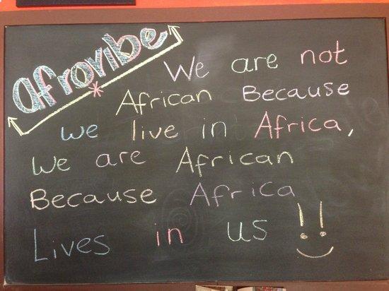 Afrovibe Adventure Lodge: Breakfast Room Board