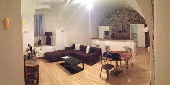 Prague Apartments U Kapra: Vault 2br apartment, living, kitchen & dining area
