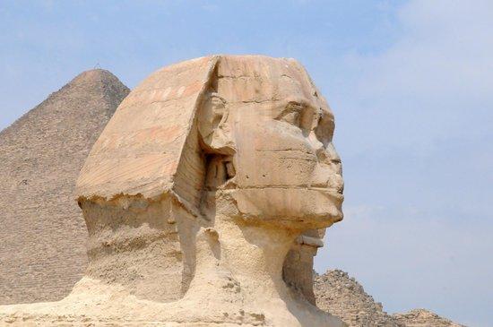 Pyramide de Khéops : A grande pirâmide e a esfinge.