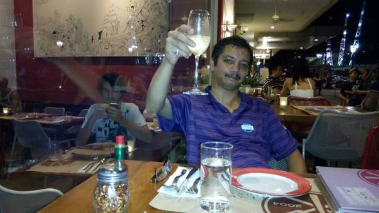 Ricciotti: Sudarshan Iyengar with a glass of champagne