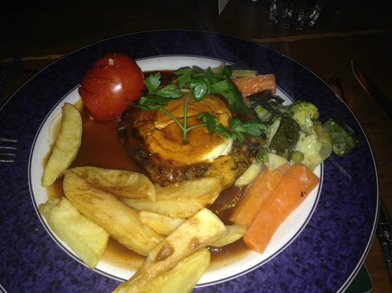 Fantails Restaurant: Vegetarian Nut Roast topped with Goats Cheese.