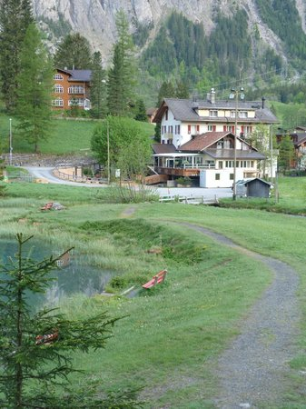 Hotel des Alpes: Rear of the hotel and car park from the walking path behind