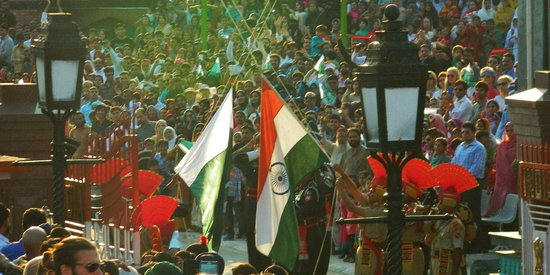 Wagah Border : Lowering of the flags