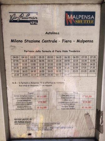 Lido Hotel: Расписание автобуса до аэропорта милан мальпенса