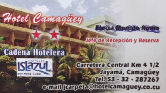 Islazul Hotel Camaguey : Carte d'afaire / Business card / Tarjeta de negogio.