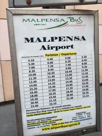 Lido Hotel: Расписание автобуса из аэропорта милан мальпенса