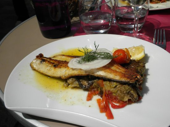 Kyriad Hotel Paris Bercy Village : first meal near Kyriad hotel - filet of sea bass over vegetable terrine.