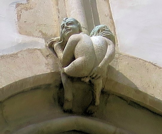 St. Jacob's Church: A funny statue on one of the windows of the church