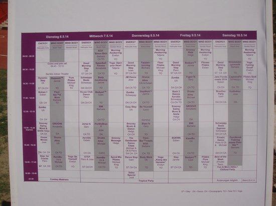 SENTIDO Lykia Resort & Spa: Fitness Week programme of events
