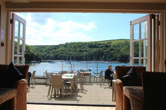 The Old Quay House Hotel : View from the Dining room out to the terrace