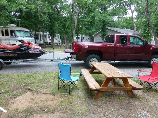 Grandpappy Point: Aussicht vor der Cabin, wenn der Nachbar seinen Parkplatz braucht