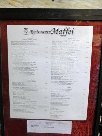 Maffei Restaurant: Menu from outside