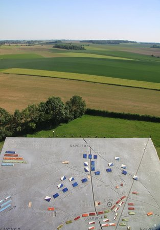 """Waterloo Battlefield: View from the Butte  with """"map"""" of deployment"""