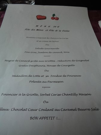 Trausse, France: le menu du jour