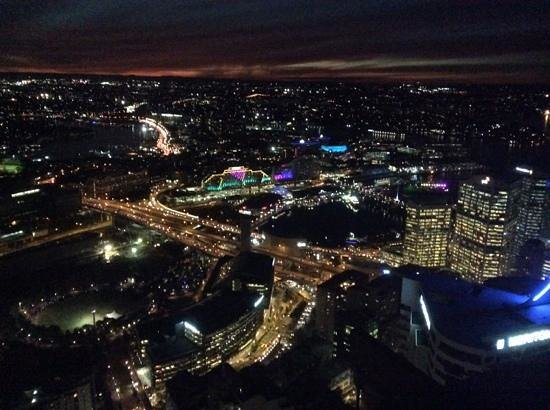 Meriton Serviced Apartments World Tower: darling harbour at night