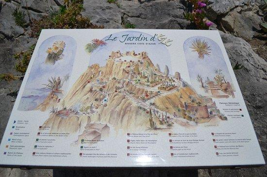 Le Jardin exotique d'Eze : mappa del giardino