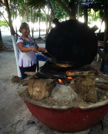 Chamico's : Cooking over the open fire at Chamicos in Soliman Bay, Riviera Maya Mexico