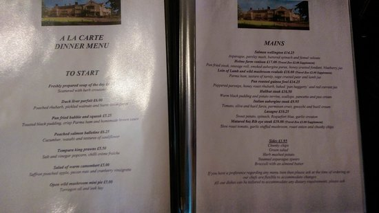 Monk Fryston Hall Hotel: Dinner menu