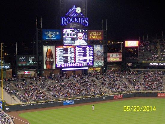 Coors Field: Score board at night