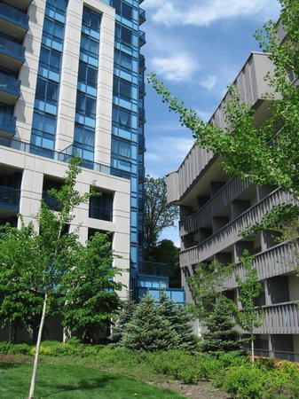 Toronto Don Valley Hotel & Suites: Blue building is right next to the hotel