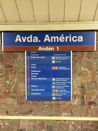 AC Hotel Avenida de America : 地鐵站名