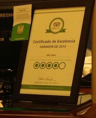 "HRC Hotel : We recognized Javier with this TripAdvisor ""Excellent Service"" pin."