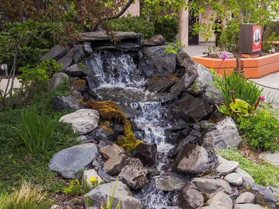 Copper Whale Inn: Lovely waterfall in the nicely landscaped grounds