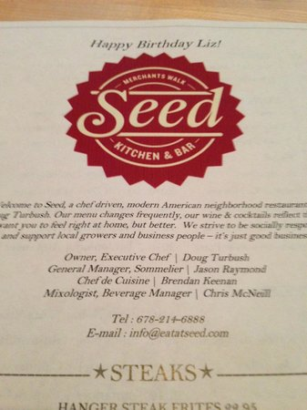 Seed Kitchen & Bar: Personalize menu