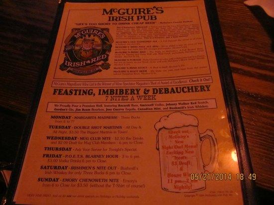 McGuire's Irish Pub: menu