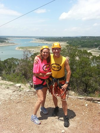 Lake Travis Zipline Adventures: About to zipline over Lake Travis